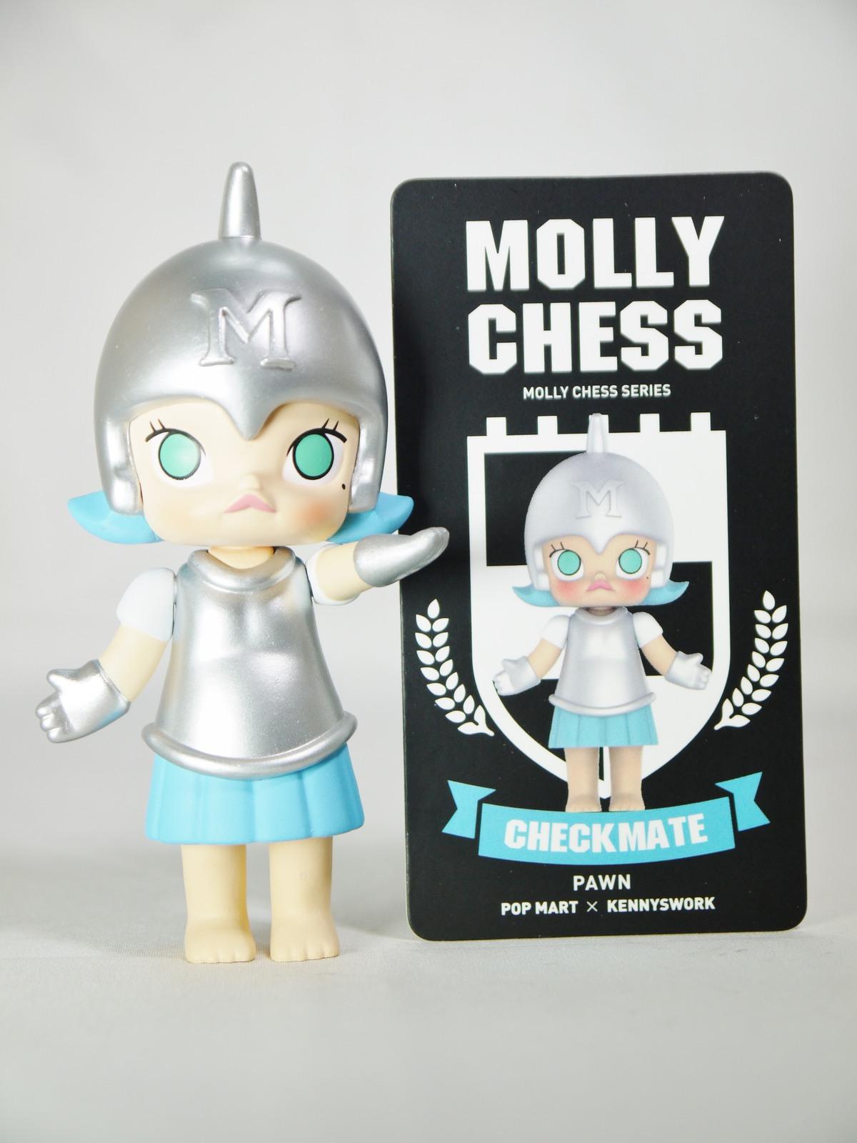POP MART Kennyswork BLOCK Little Molly Chess Club Chessmate PAWN Silver & Blue
