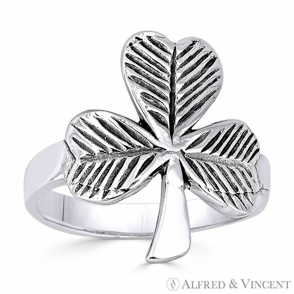 Primary image for Irish Shamrock 3-Leaf Clover .925 Sterling Silver Irish / Celtic Luck Charm Ring