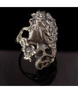 Art Nouveau Mucha Goddess ring - Vintage sterling goddess - flower headd... - $195.00