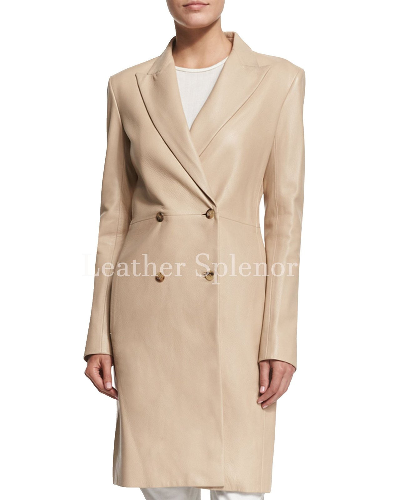 Double Breasted Women Leather Trench Coat
