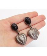 MEXICO 925 Sterling Silver - Vintage Black Onyx Hollow Drop Earrings - E... - $59.24