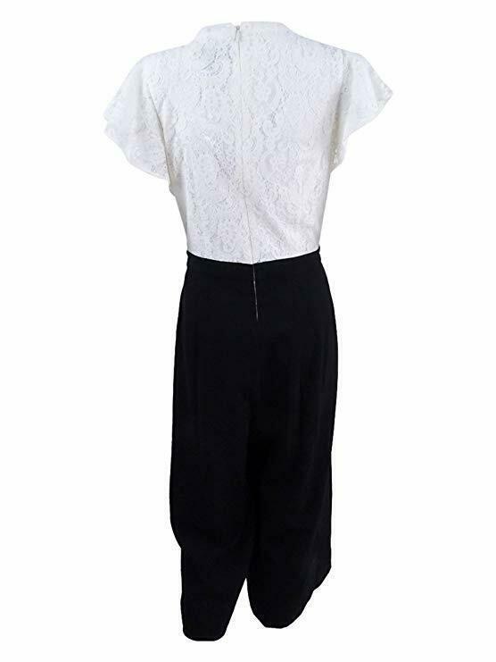 Jessica Simpson Ivory Women's Cropped Lace Jumpsuit, Black, 8