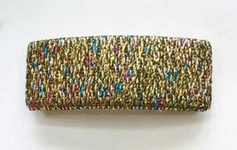 "Fabulous Glittery Metallic Fabric Hair Clip  Barrette 1980s Vintage 3 1/2"" - $12.30"