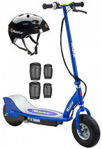 Razor E300 Electric Scooter (Blue) With Helmet, Elbow and Knee Pads - $377.08