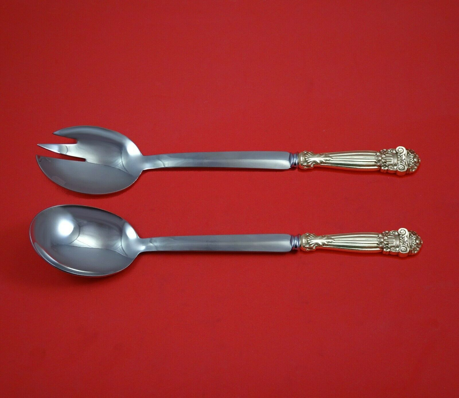 Primary image for Georgian by Towle Sterling Silver Salad Serving Set Modern Custom Made 10 1/2""