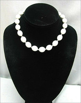 """TRIFARI White BEADED Vintage NECKLACE  Knotted 17 1/2"""" Choker Plastic Beads - $16.99"""