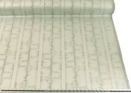 Slub Effect Silver Cream Embroidered Striped Fabric Material 2 Sizes - $10.01+