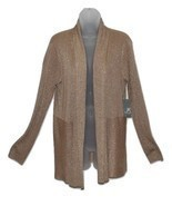 JM Collection Petite Cardigan, Long-Sleeve KA GlitteryTaupe PS  - $17.70