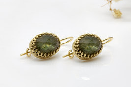 Labradorite earrings,oval earrings,dangle earrings,gold earrings - $59.00+