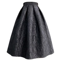 Women Black A-line Midi Skirt Outfit Plus Size High Waist Party Skirt  image 4
