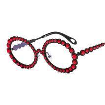 Diamond Round Sunglasses Women Sexy Shades Oval Rhinestone Eyeglasses Luxury Bra image 6