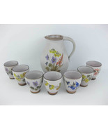 Hand Painted Pottery Pitcher With Cups Wild Flowers Signed By Artist - $79.00