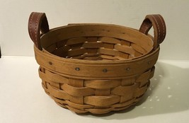2003 Longaberger Woven Small Round Basket w/ Leather Handles - $14.01