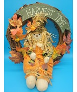 Halloween Decor Fall Door Wreath Autumn Color Maple Leaf Scarecrow Harve... - $20.00