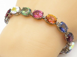 STS 925 Silver - Oval Cut Prong Set Multi-Color Topaz Chain Bracelet - B... - $63.70