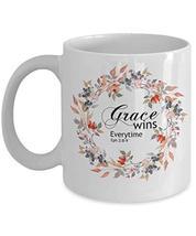 Scripture Mugs Grace Ephesians 2 Christian Bible White Floral Coffee Tea Cup - $19.75