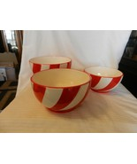 Set of 3 Hand Made Ceramic Nesting Bowls, Red & White Spiral Design - $74.25