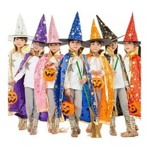Halloween Costumes Witch Wizard Cloak Gown Robe with Hat Cap Stars Fancy... - $12.94