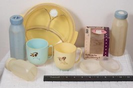 Vintage Lot of Baby Bottle and Childs Dinnerware Plate Cups etc. g25 - $19.79