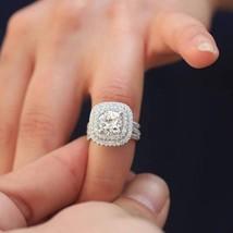 Certified 4.60Ct Round Diamond Engagement Wedding Trio Ring Set 14K Whit... - £229.55 GBP