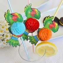 """Set of 8 Jumbo Multi Color Parrot Tropical Straw 3D Honeycomb 13.5"""" - $5.49"""