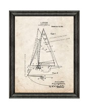Sailboat Rigging Patent Print Old Look with Black Wood Frame - $24.95+