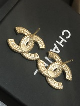 AUTHENTIC CHANEL XL LARGE CRYSTAL CC LOGO STUD GOLD EARRINGS  image 9