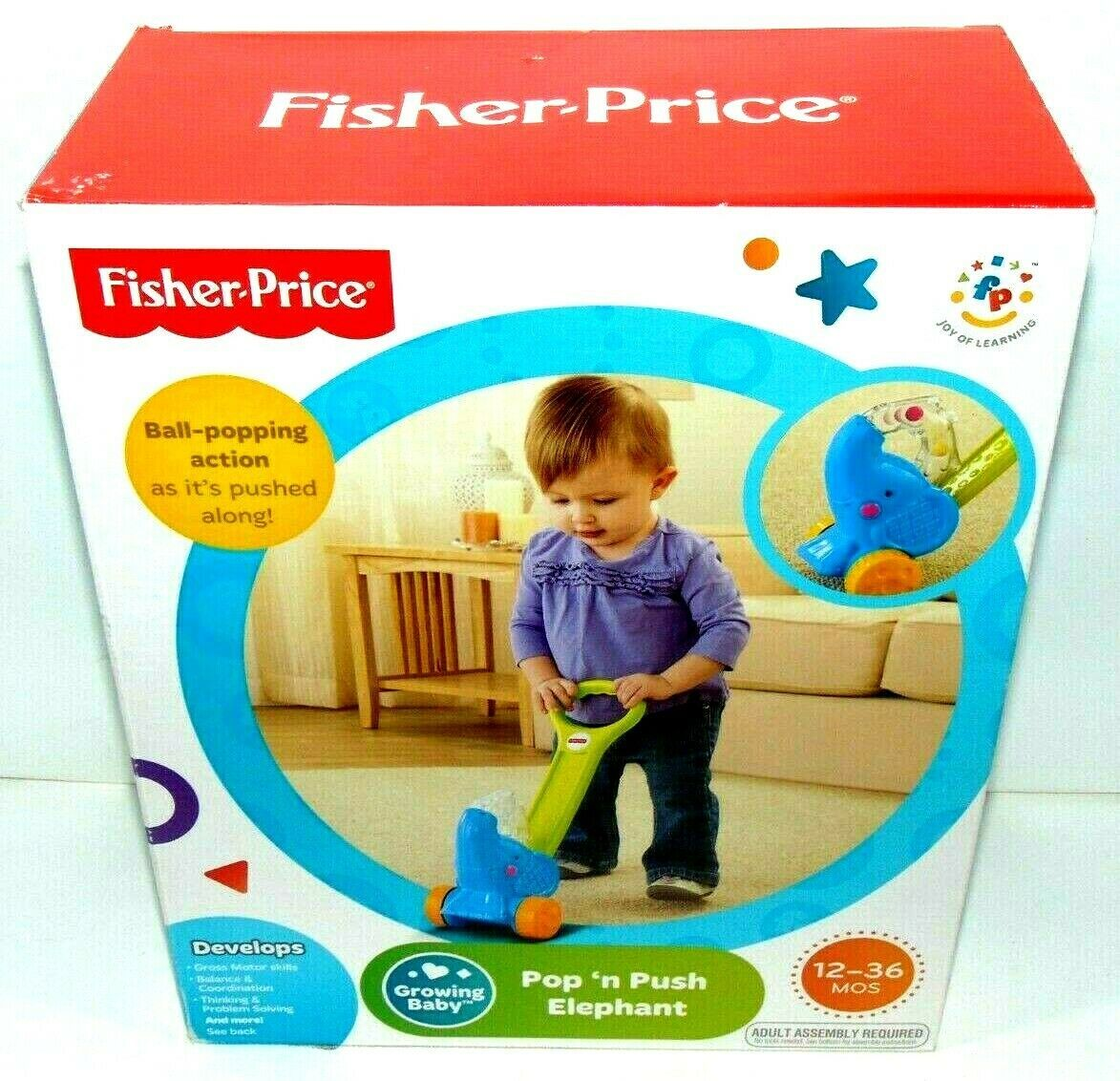 Primary image for BRAND NEW!! Fisher Price Push N Pop Elephant Push Along Toy 12-36 Months NIB !