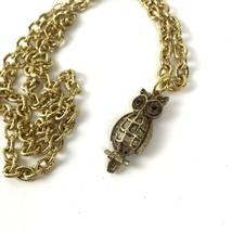 Vintage Necklace Gold tone Owl Pendant Red Rhinestone Eyes Kitsch - £12.17 GBP