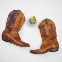Boulet Women's Size 7.5 Embroidered Cowgirl Western Brown Leather Boots  - $36.99