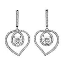 3.80 Ct White Quartz 925 Sterling Silver Heart Shape Dangling Earrings - $49.99+