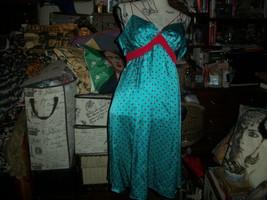 VOOM BY JOY HAN Lovely Ceralean Blue+Scarlet Read Polka Dot Silk Dress S... - $14.85