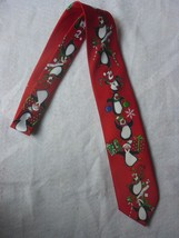 NWT Hallmark Yule TIE Greetings Red Christmas Festive Penguins Necktie - $8.96