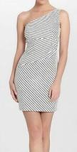 Cynthia Steffe Dress Sz 10 White Black Striped One Shoulder Wiggle Cockt... - $79.17