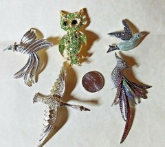 5 Vintage Beautiful Bird Pins/Brooches Few Missing Stones - $13.81