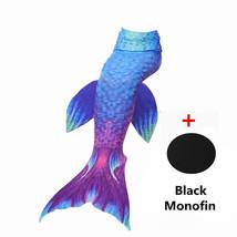 Kids Girls Women Fin Mermaid Tail Swimming Costume Monofin Blue Swimmable Tail - $18.99+