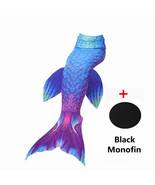 Kids Girls Women Fin Mermaid Tail Swimming Costume Monofin Blue Swimmabl... - $18.99+