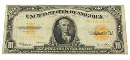 1922 $10 Us Gold Note in Fine Condition Fr. 1173 - $222.75