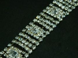 Art Deco Style Rhodium Silver Tone Clear CZ Rhinestone Wide Bracelet - $89.09