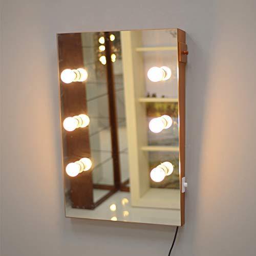 GLS Wooden Wall Mount Lighted Makeup Vanity Mirror ...