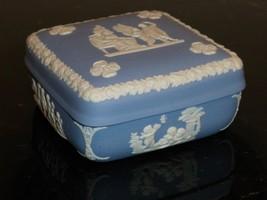 "Vintage Wedgwood Jasperware White And Blue Trinket Box 1 3/4"" H X 4"" W - $24.00"