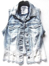 Silver Jeans Cut Off Fray Trucker Denim Vest Light Blue Distressed sz XS - $20.78