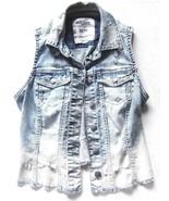 Silver Jeans Cut Off Fray Trucker Denim Vest Light Blue Distressed sz XS - $20.78