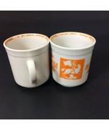 Two Mockba Moscow Russia Coat of Arms Orange White Coffee Tea Cocoa Cups  - $17.75