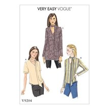 Vogue Patterns V9204A50 Misses V Tops with Neck-Ties, Red - $3.68