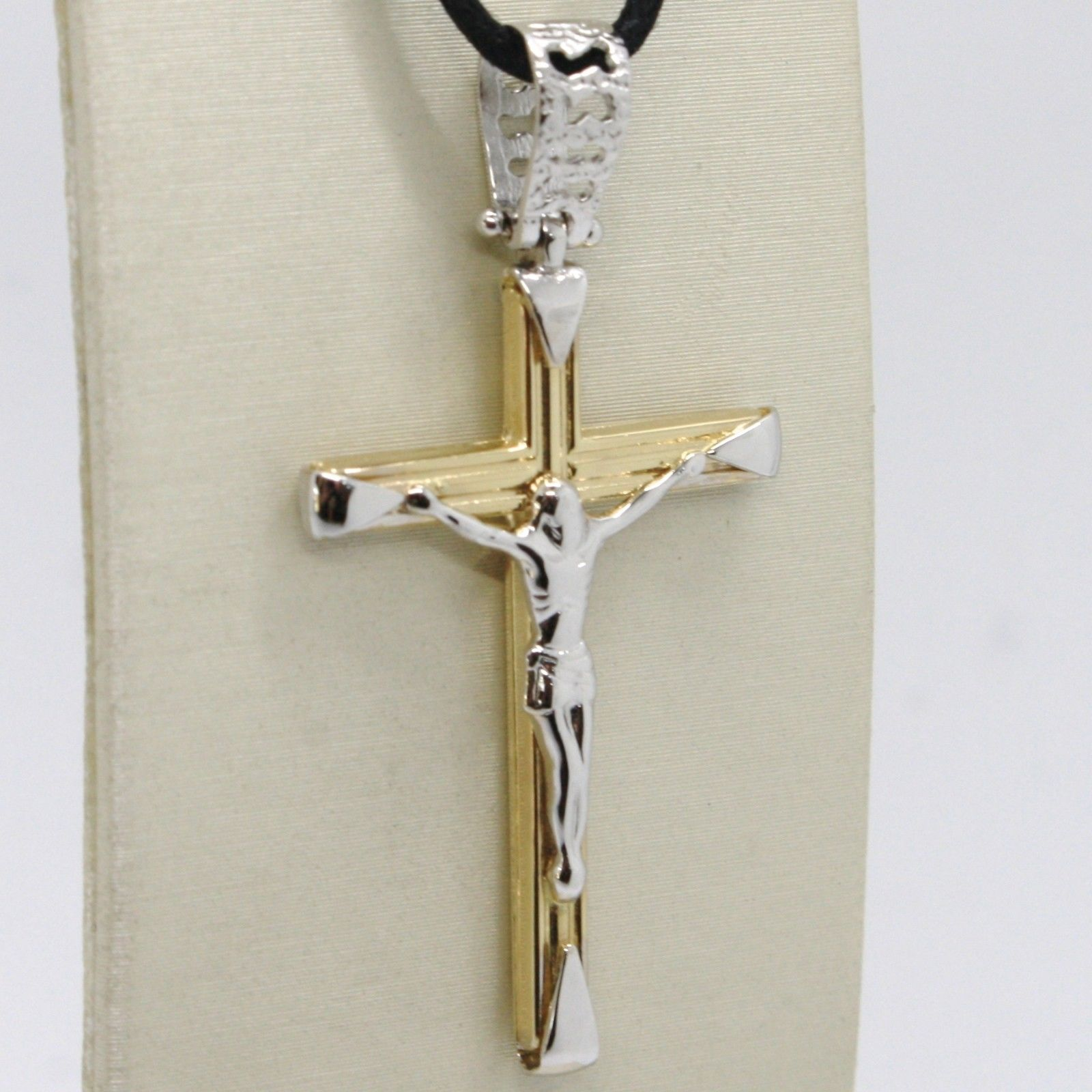 18K YELLOW WHITE GOLD JESUS CROSS PENDANT, 4.2 CM, FINELY WORKED, MADE IN ITALY