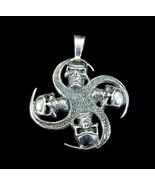 Men's Handcrafted 925 Sterling Silver 4 Four Skulls Quadskelion Biker Pe... - $31.56