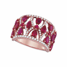 18kt Rose Gold Womens Pear Ruby Diamond Fashion Ring 3-1/2 Cttw - €2.724,63 EUR
