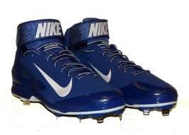 Nike Huarache Pro Mid Metal Baseball Cleat Blue 599235 NWOB PE Sample Rare Sz 15 - $39.48