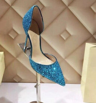 Sky Blue Sequin Wedding heels Women Bridal Evening Shoes US Size 6,7,7.5... - $49.99